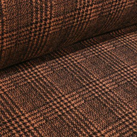 Tissu Jacquard polyviscose extensible Écossais pied de poule sur fond Marron - Par 10 cm