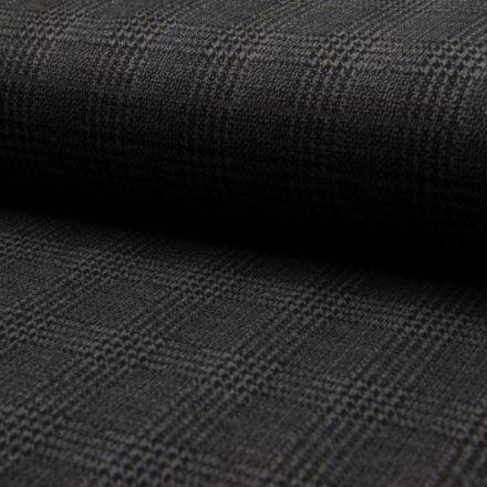 Tissu Jacquard polyviscose  extensible Écossais pied de poule Noir sur fond Gris anthracite - Par 10 cm
