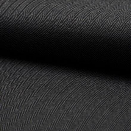 Tissu Jacquard polyviscose  extensible Chevrons noirs sur fond Gris anthracite - Par 10 cm
