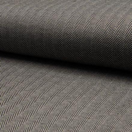 Tissu Jacquard polyviscose  extensible Chevrons noirs sur fond Blanc - Par 10 cm
