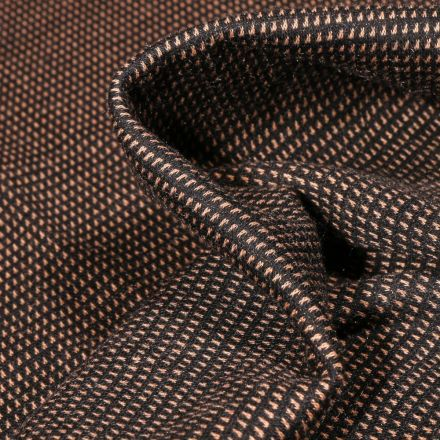 Tissu Jacquard polyviscose extensible Pointillés brique sur fond Noir - Par 10 cm