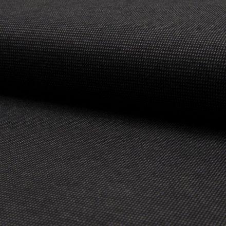 Tissu Jacquard polyviscose  extensible Pointillés Gris sur fond Noir - Par 10 cm
