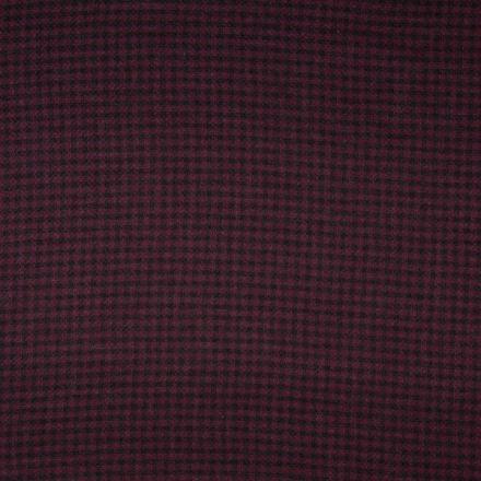 Tissu Viscose épaisse en reliefs Carreaux  écossais  noirs sur fond Prune - Par 10 cm