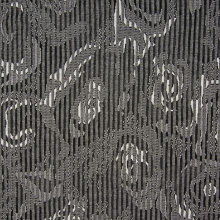 Tissu Jersey Jacquard  Formes abstraites sur fond Gris anthracite - Par 10 cm