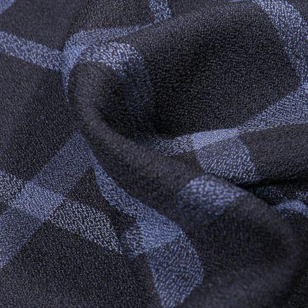 Tissu Crêpe texturé Carreaux bleus sur fond Bleu nuit