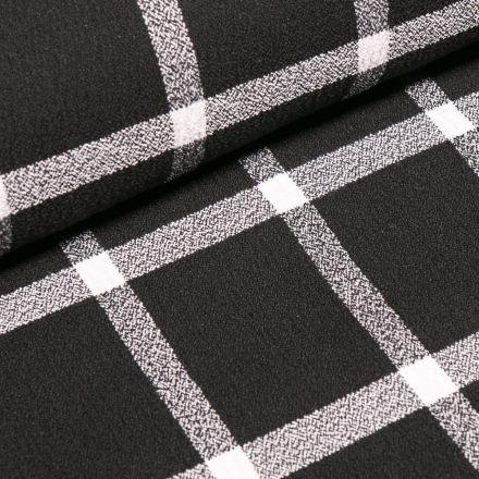 Tissu Crêpe texturé Carreaux blancs sur fond Noir
