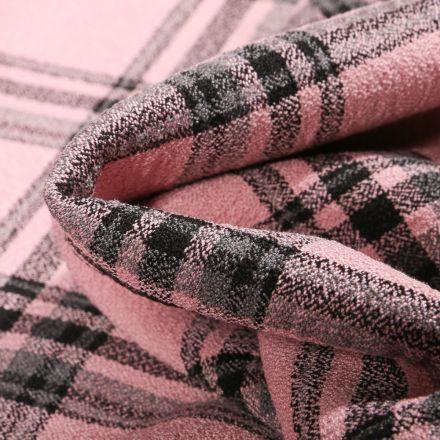 Tissu Crêpe texturé Carreaux noirs sur fond Rose