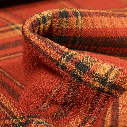 Tissu Crêpe texturé Carreaux noirs sur fond Orange