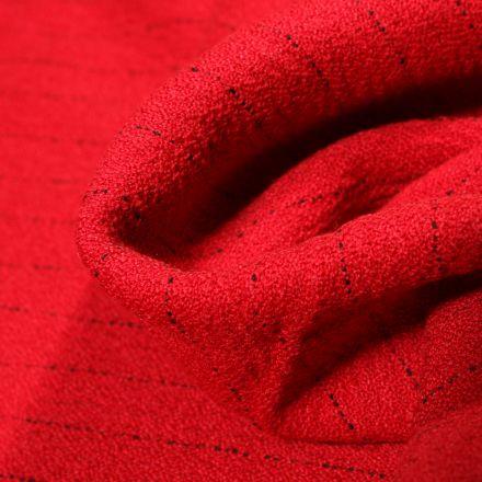 Tissu Crêpe texturé Rayures noires sur fond Rouge
