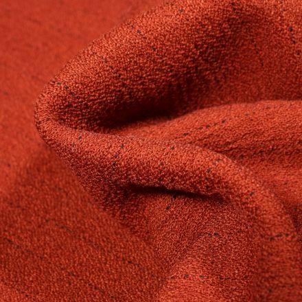 Tissu Crêpe texturé Rayures noires sur fond Rouille