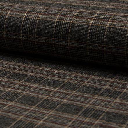 Tissu Jacquard Écossais brique et beige sur fond Noir - Par 10 cm