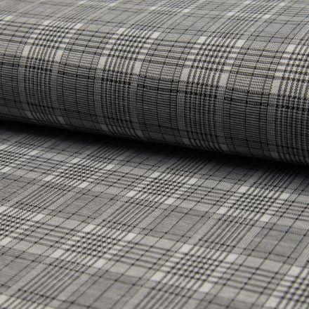 Tissu Jacquard Jersey Carreaux noir sur fond Blanc - Par 10 cm