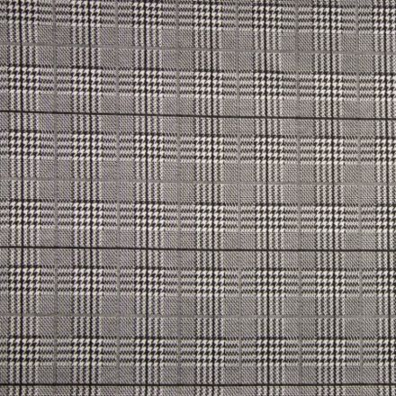 Tissu Jacquard Prince de Galles Carreaux Noirs et blancs sur fond Gris - Par 10 cm