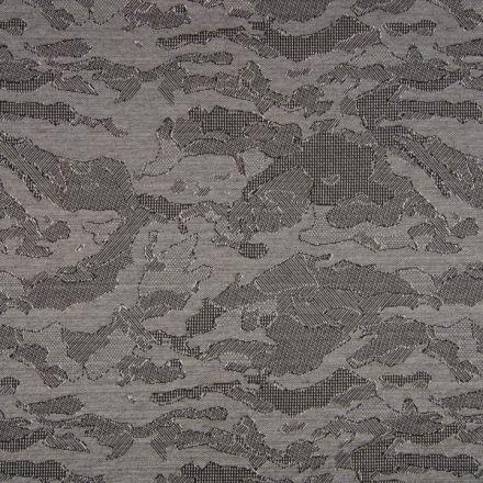 Tissu Jacquard Jersey Harvard Abstrait sur fond Gris - Par 10 cm
