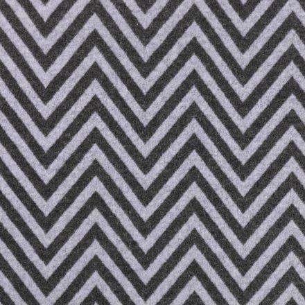 Tissu Lainage Rayures chevron Grises anthracite sur fond Gris clair - Par 10 cm