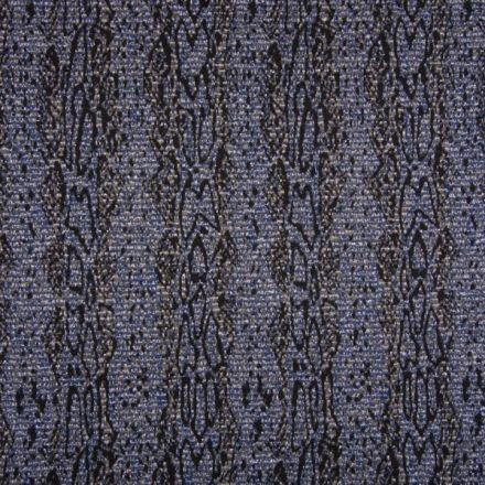 Tissu Jacquard Pailleté argent  Reptiles sur fond Bleu - Par 10 cm