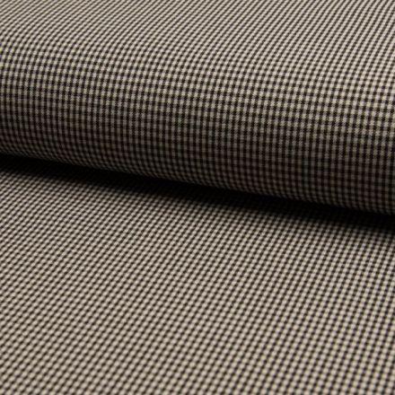 Tissu Bengaline Petits carreaux Écossais noir sur fond Beige - Par 10 cm