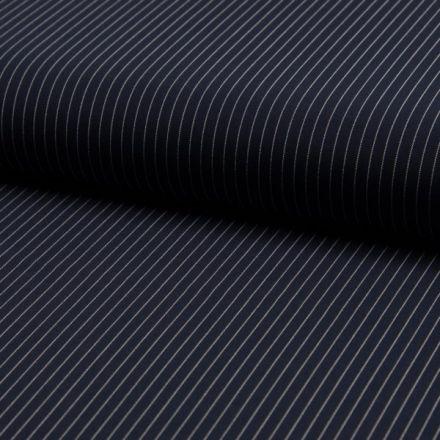 Tissu Gabardine légère et fluide  Rayures fines blanches sur fond Bleu marine - Par 10 cm