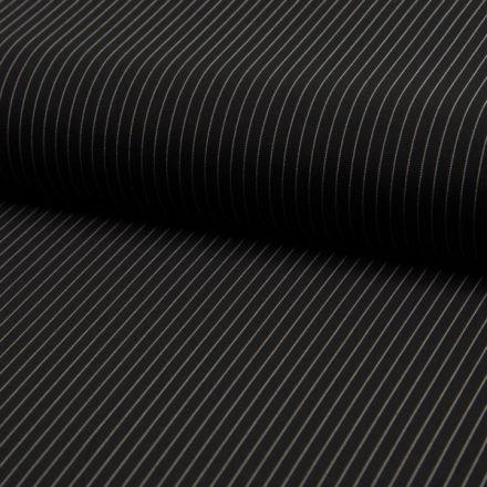 Tissu Gabardine légère et fluide  Rayures fines blanches sur fond Noir - Par 10 cm