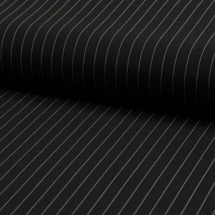 Tissu Gabardine légère et fluide  Rayures blanches sur fond Noir - Par 10 cm