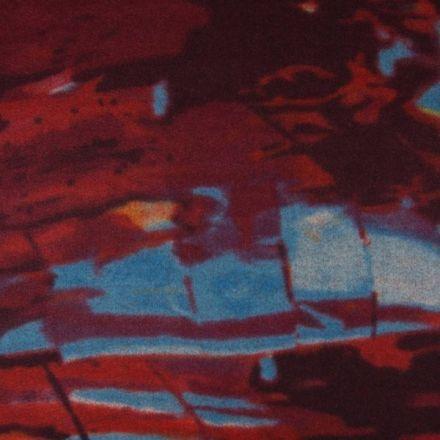 Tissu Caban Laine Motifs abstrait orange et bleu sur fond Bordeaux - Par 10 cm
