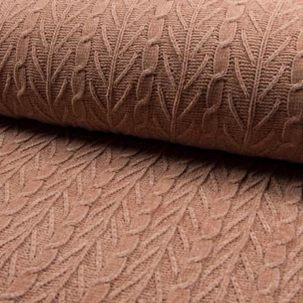 Tissu Maille épaisse Chenille  Torsadé Rose - Par 10 cm