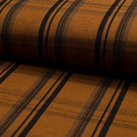 Tissu Jacquard polyviscose  Carreaux Écossais Noirs et gris sur fond Ocre - Par 10 cm