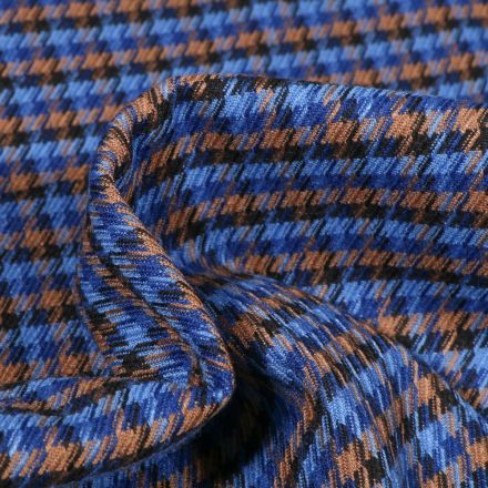 Tissu Jacquard polyviscose  Pied de poule sur fond Bleu roi