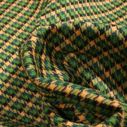 Tissu Jacquard polyviscose  Pied de poule sur fond Vert vif