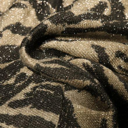 Tissu Maille lurex Peau de zèbre sur fond Vert kaki