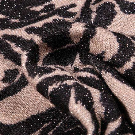 Tissu Maille lurex Peau de zèbre sur fond Beige sable
