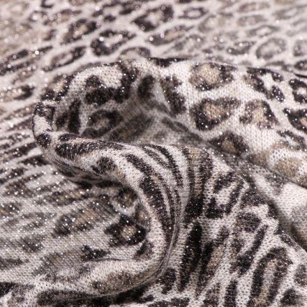 Tissu Maille lurex Tâche léopard gris sur fond Blanc cassé