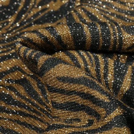 Tissu Maille lurex Zébré sur fond Vert kaki
