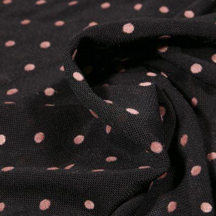 Tissu Tulle souple Pois en relief velours rose sur fond Noir