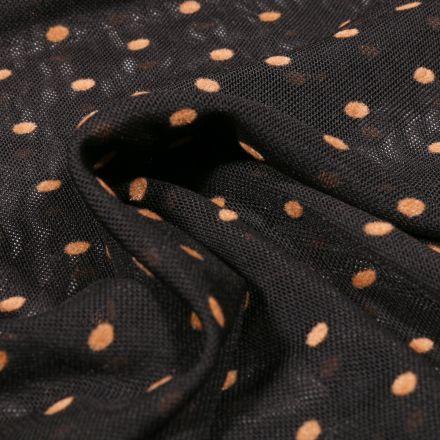 Tissu Tulle souple Pois en relief velours beige sur fond Noir