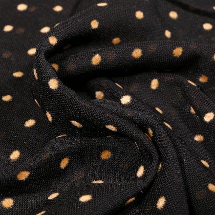 Tissu Tulle souple Pois en relief velours ocre sur fond Noir