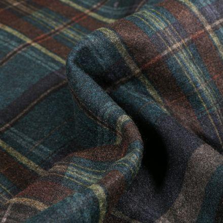 Tissu Drap de manteau Ecossais sur fond Bleu canard