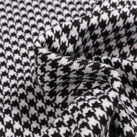 Tissu Maille polyviscose Pied de poule noir sur fond Blanc