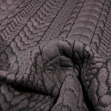 Tissu Sweat matelassé torsadé Gris - Par 10 cm