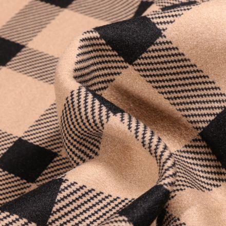 Tissu Drap de manteau  Carreaux sur fond Beige
