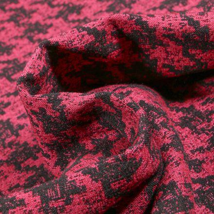 Tissu Bengaline Jacquard Pied de poule sur fond Rouge