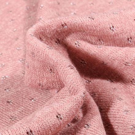 Tissu Maille lurex Petits pois lurex sur fond Rose pâle