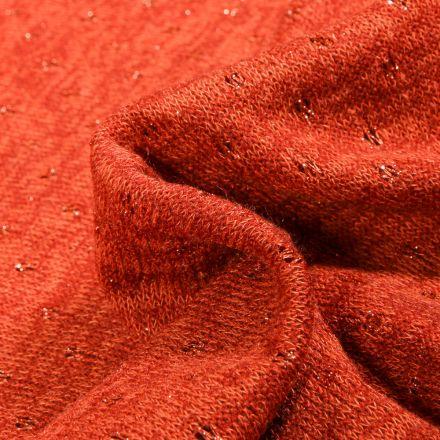 Tissu Maille lurex Petits pois lurex sur fond Orange