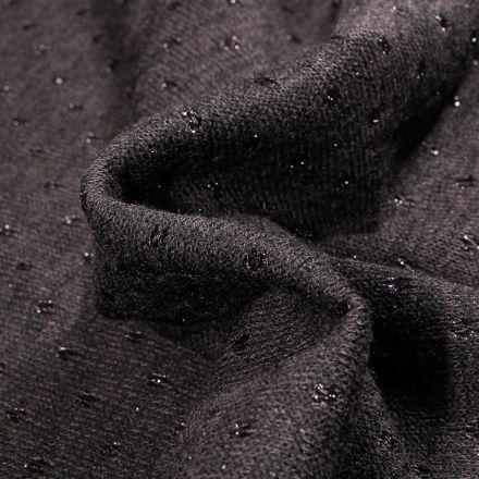 Tissu Maille lurex Petits pois lurex sur fond Noir
