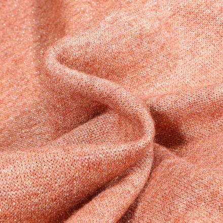 Tissu Maille polyviscose Lurex sur fond Saumon