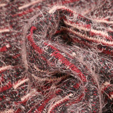 Tissu Maille texturé Rayures rouge sur fond Gris
