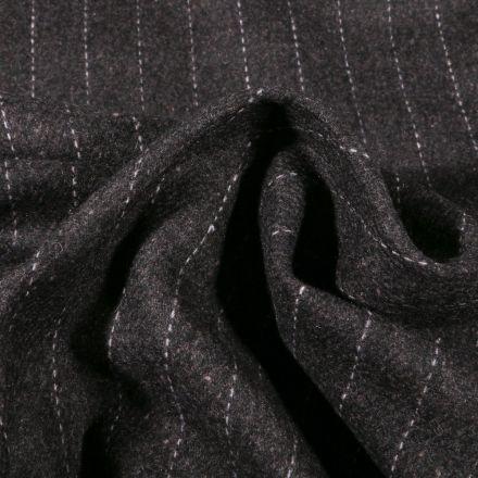 Tissu Gabardine Laine Rayures sur fond Gris anthracite - Par 10 cm