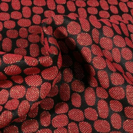 Tissu Jacquard lurex Pois rouille sur fond Noir - Par 10 cm