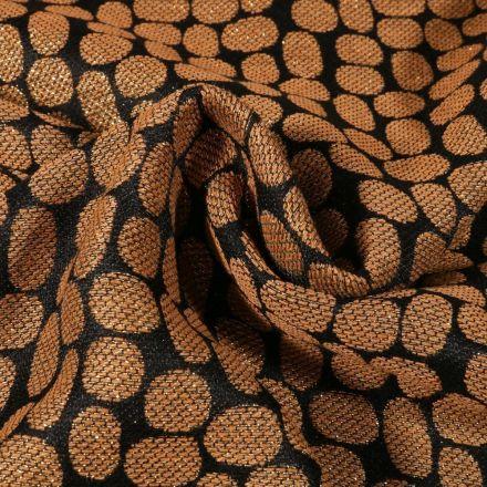Tissu Jacquard lurex Pois dorés sur fond Noir - Par 10 cm
