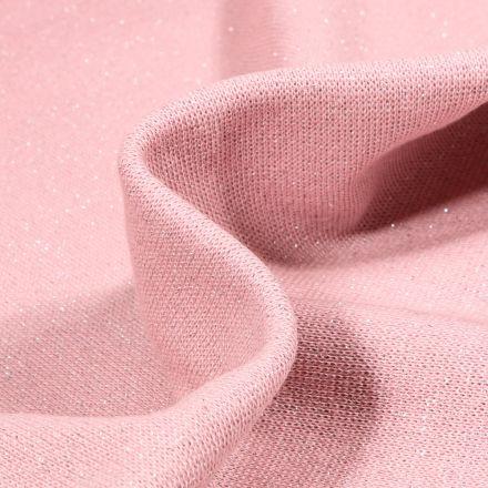 Tissu Bord côte uni pailleté  Rose blush